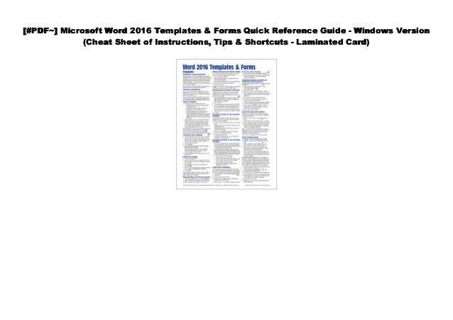 Pdf Microsoft Word 2016 Templates Forms Quick Reference Guide