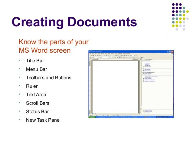 Microsoft word basics ppt ruler menu bar title bar task pane status bar text area scroll bars toolbars 4 viewing documents ms word ibookread ePUb