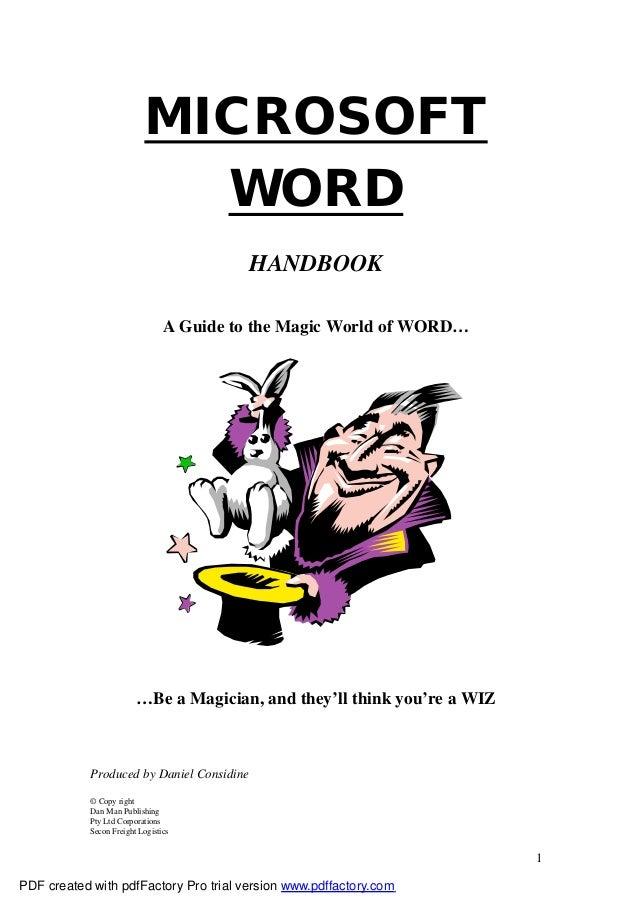 MICROSOFT                             WORD                                           HANDBOOK                             ...