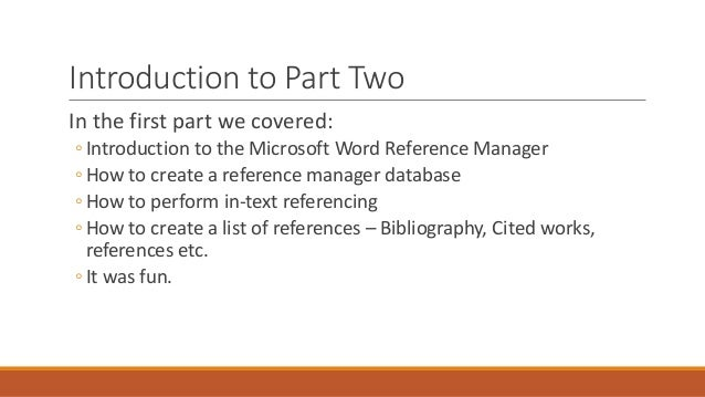 Microsoft Word Reference Manager for Researchers Advanced – Word Reference List