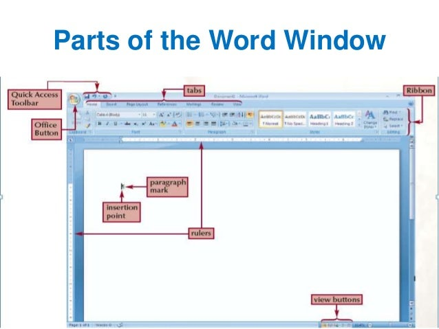 Advanced microsoft word seminar displayed 5 parts of the word window ccuart Images