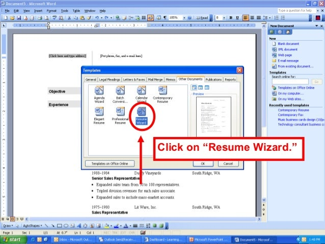 use resume wizard microsoft word 2007