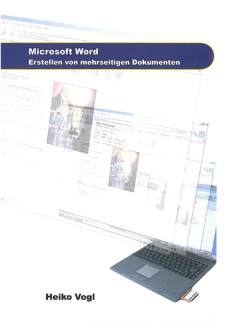 Microsoft Word. Erstellen von mehrseitigen Dokumenten
