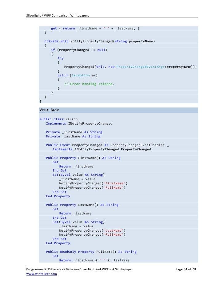 Microsoft Wpf Silverlight Comparison Whitepaper V1 1