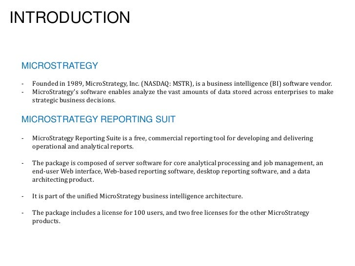 microstrategy reporting tool free