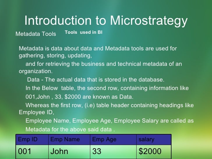 Introduction to Microstrategy <ul><li>Metadata Tools Metadata is data about data and Metadata tools are used for gathering...
