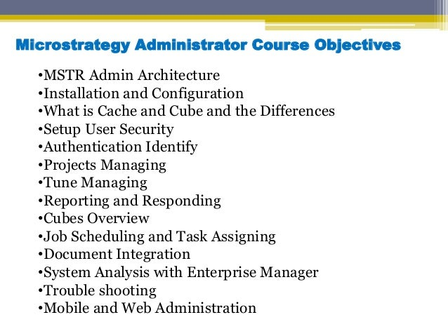 microstrategy administrator online training