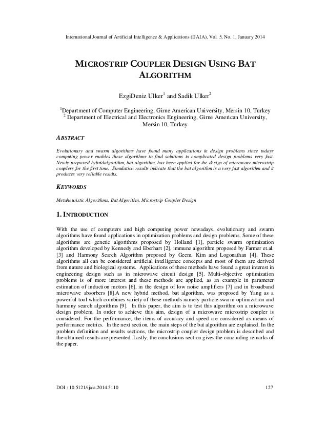 International Journal of Artificial Intelligence & Applications (IJAIA), Vol. 5, No. 1, January 2014  MICROSTRIP COUPLER D...