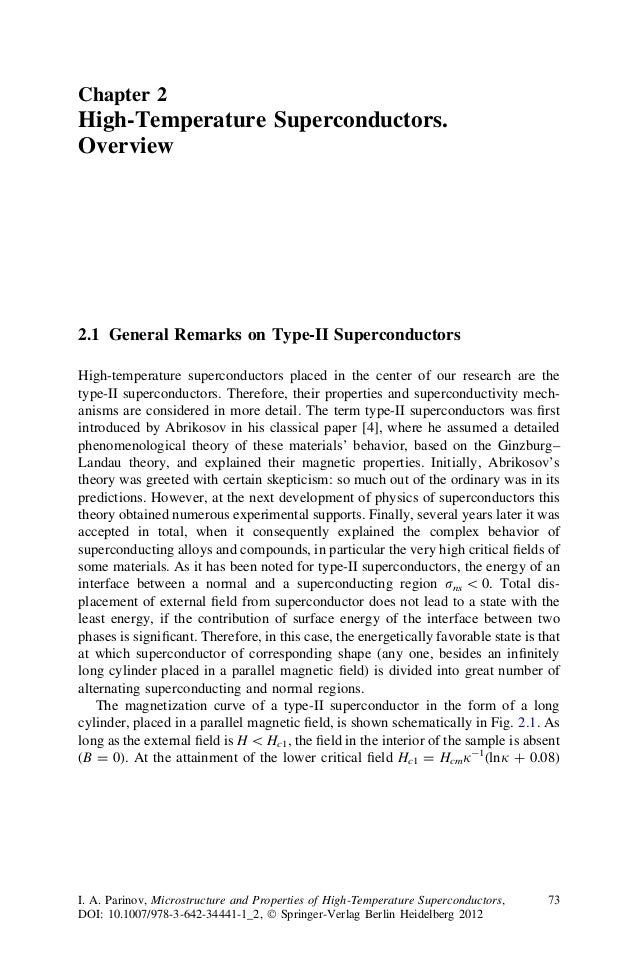Chapter 2 High-Temperature Superconductors. Overview 2.1 General Remarks on Type-II Superconductors High-temperature super...