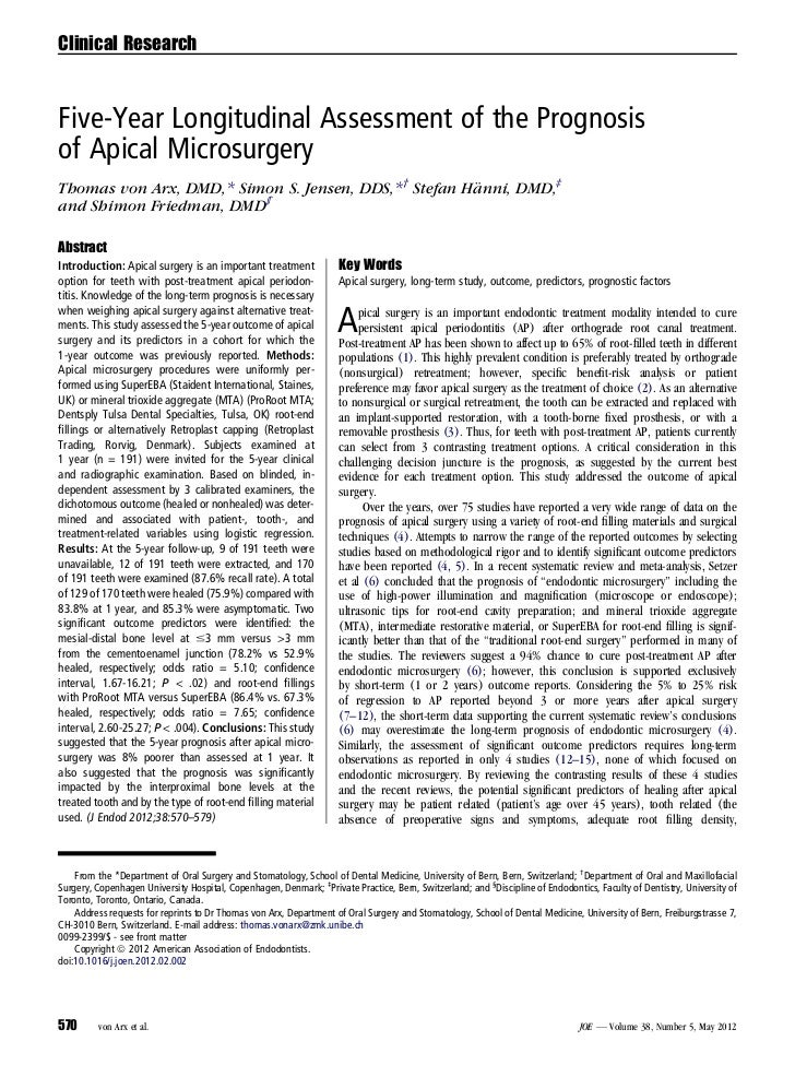 Clinical ResearchFive-Year Longitudinal Assessment of the Prognosisof Apical MicrosurgeryThomas von Arx, DMD,* Simon S. Je...