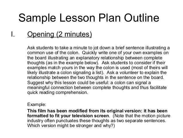 Outline Lesson Plan Example  PetitComingoutpolyCo