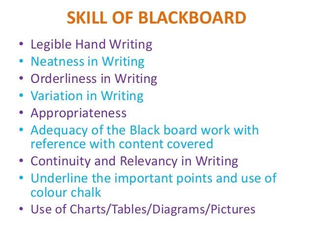 skill of blackboard writing and skill of closure