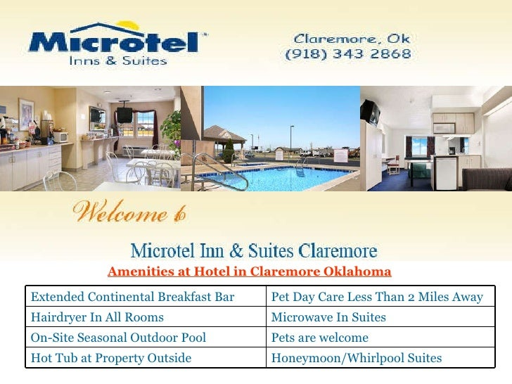 Amenities at Hotel in Claremore Oklahoma Honeymoon/Whirlpool Suites  Hot Tub at Property Outside  Pets are welcome On-Site...