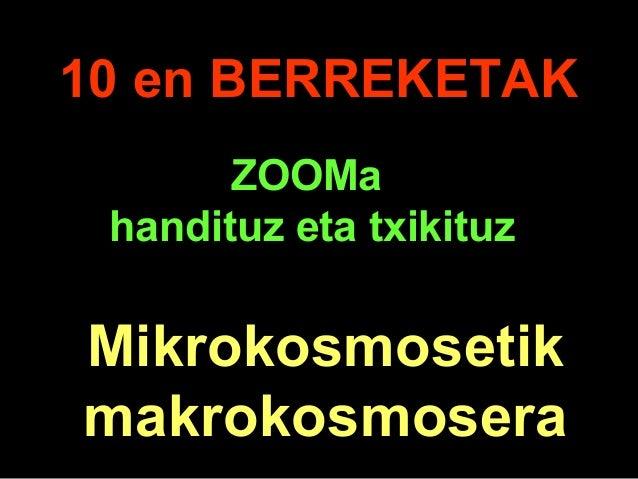 . 10 en BERREKETAK Mikrokosmosetik makrokosmosera ZOOMa handituz eta txikituz