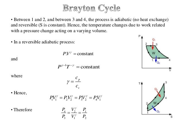 • Between 1 and 2, and between 3 and 4, the process is adiabatic (no heat exchange) and reversible (S is constant). Hence,...