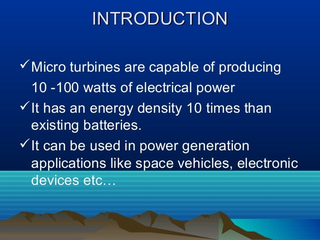 Micro turbines Slide 2