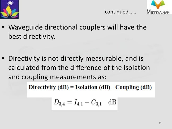 Microwave- directional coupler paramets & applications