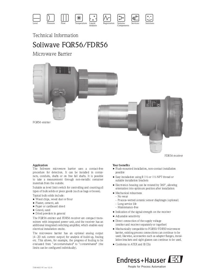 TI00443F/97/en/12.10Technical InformationSoliwave FQR56/FDR56Microwave BarrierYour benefits•Flush-mounted installation, n...