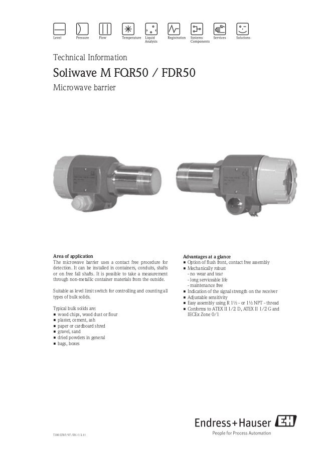 Technical InformationSoliwave M FQR50 / FDR50Microwave barrierAdvantages at a glance•Option of flush front, contact free ...
