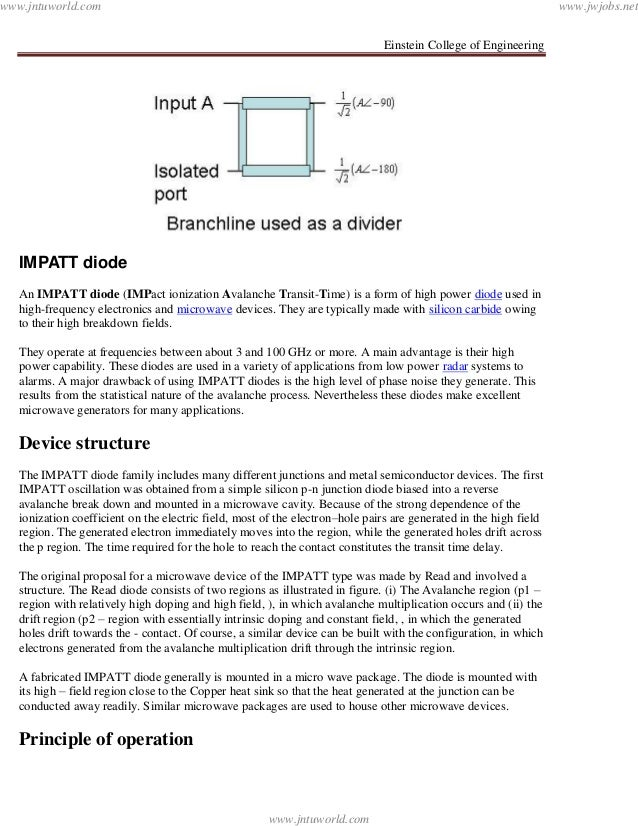 Einstein College of EngineeringIMPATT diodeAn IMPATT diode (IMPact ionization Avalanche Transit-Time) is a form of high po...