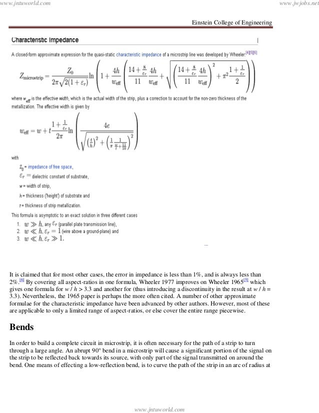 Einstein College of EngineeringIt is claimed that for most other cases, the error in impedance is less than 1%, and is alw...