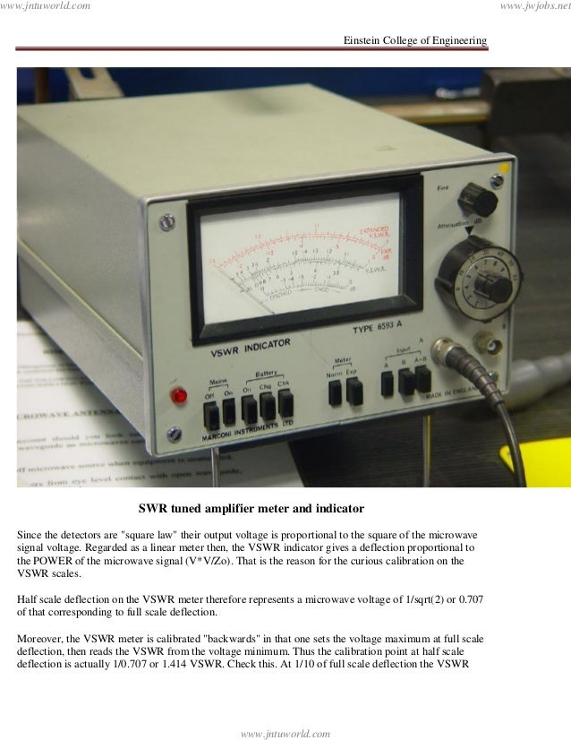"""Einstein College of EngineeringSWR tuned amplifier meter and indicatorSince the detectors are """"square law"""" their output vo..."""