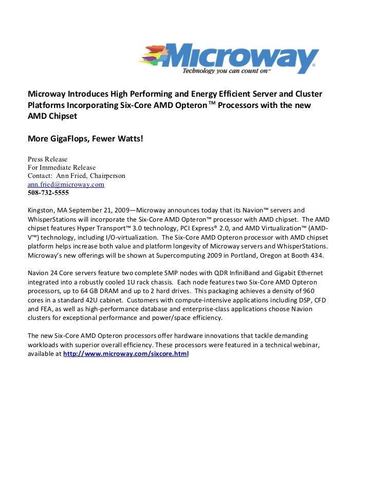 Microway Introduces High Performing and Energy Efficient Server and Cluster Platforms Incorporating Six-Core AMD Opteron T...