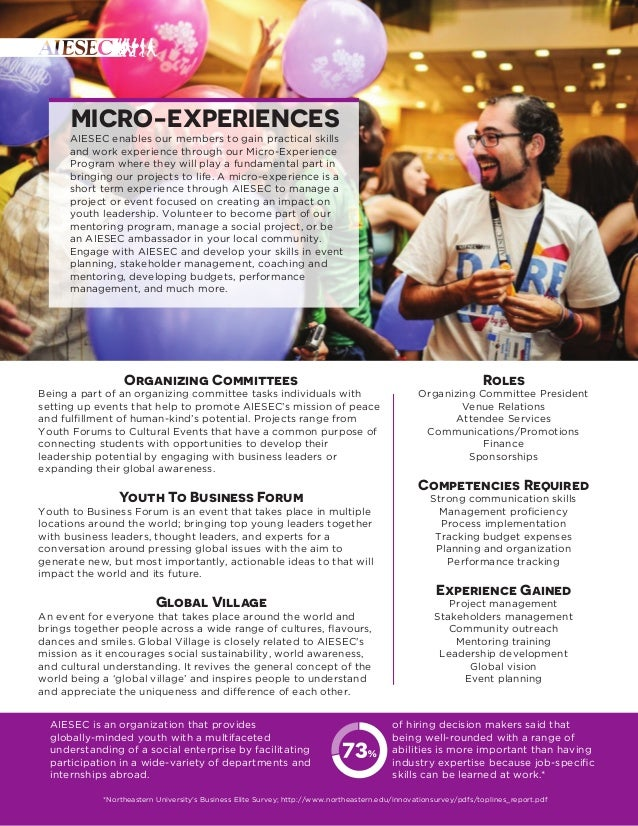 MICRO-EXPERIENCES  AIESEC enables our members to gain practical skills and work experience through our Micro-Experience Pr...
