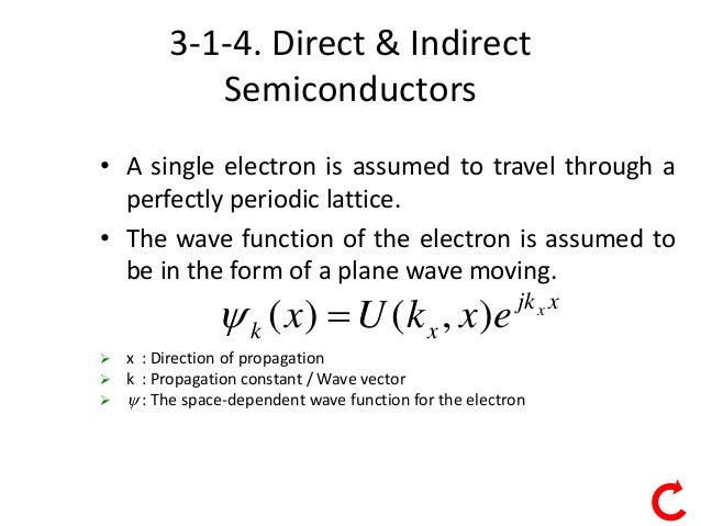 1 3-1-4. Direct & Indirect Semiconductors • A single electron is assumed to travel through a perfectly periodic lattice. •...