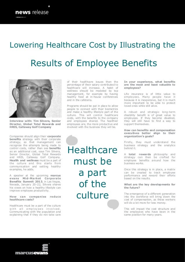 Lowering Healthcare Cost by Illustrating the                Results of Employee Benefits                                  ...