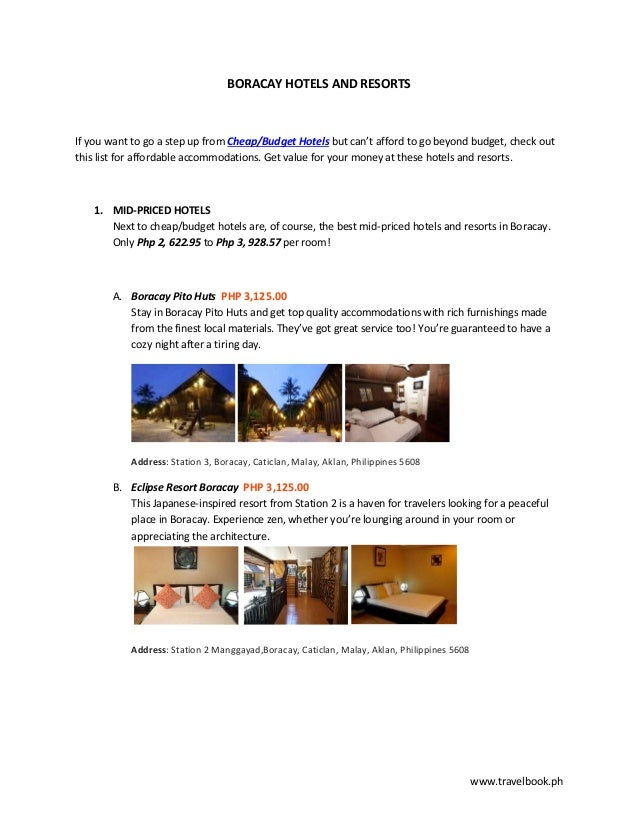 www.travelbook.phBORACAY HOTELS AND RESORTSIf you want to go a step up from Cheap/Budget Hotels but can't afford to go bey...