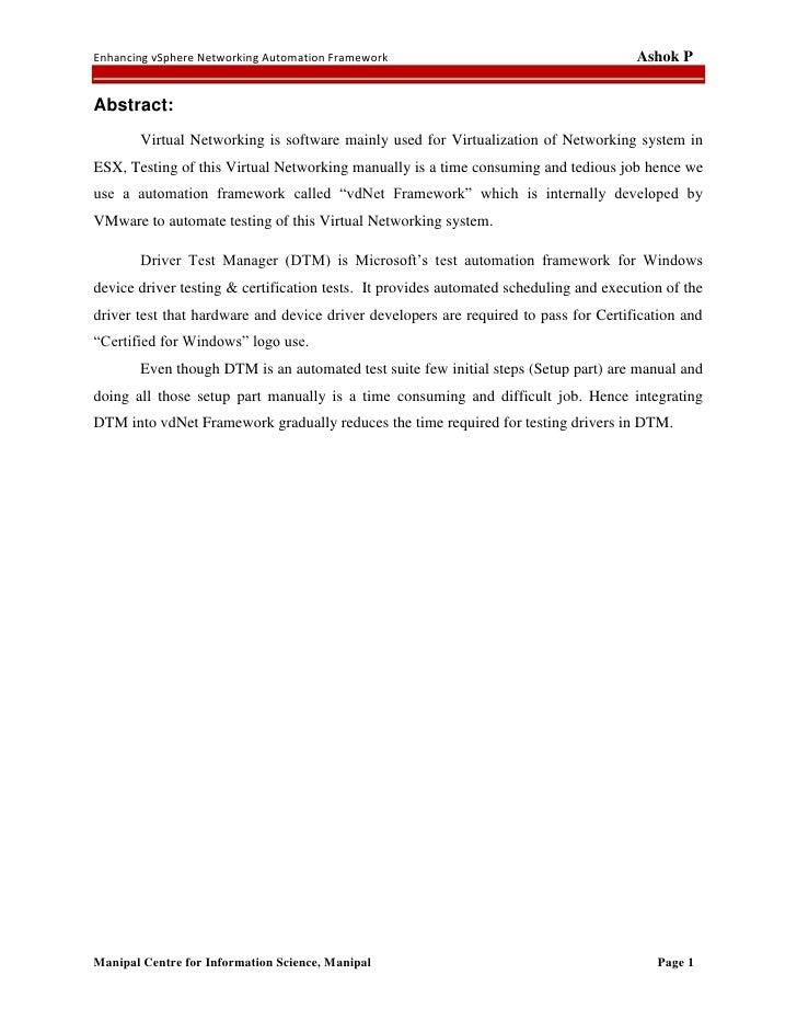 Enhancing vSphere Networking Automation Framework                                      Ashok PAbstract:       Virtual Netw...