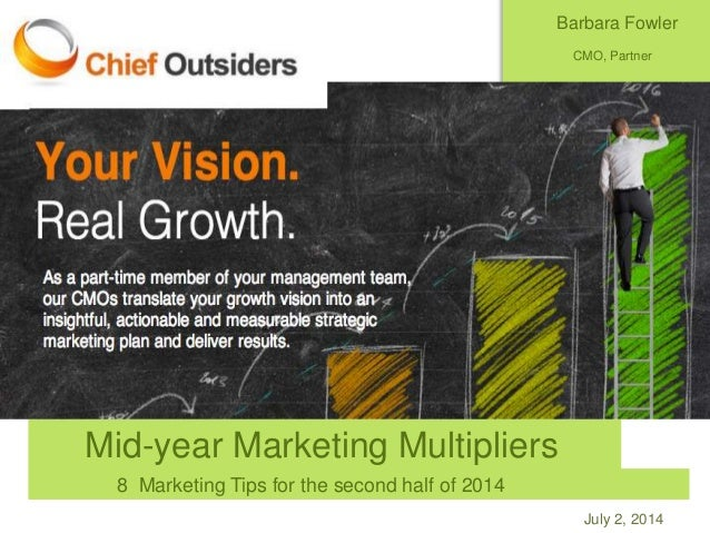 July 2, 2014 Mid-year Marketing Multipliers 8 Marketing Tips for the second half of 2014 Barbara Fowler CMO, Partner Chief...