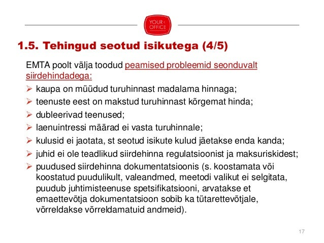 18 1.5. Tehingud seotud isikutega (5/5) Olulisemad siirdehindadega seotud õigusaktid ja juhendmaterjalid:  TuMS;  Rahand...