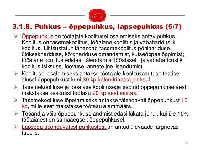 76 PUHKUSE LIIK KESTUS PUHKUSE VÕTMISE PERIOOD PUHKUSENÕUDE AEGUMINE PUHKUSETASU Rasedus- ja sünnituspuhkus (TLS § 59) 140...