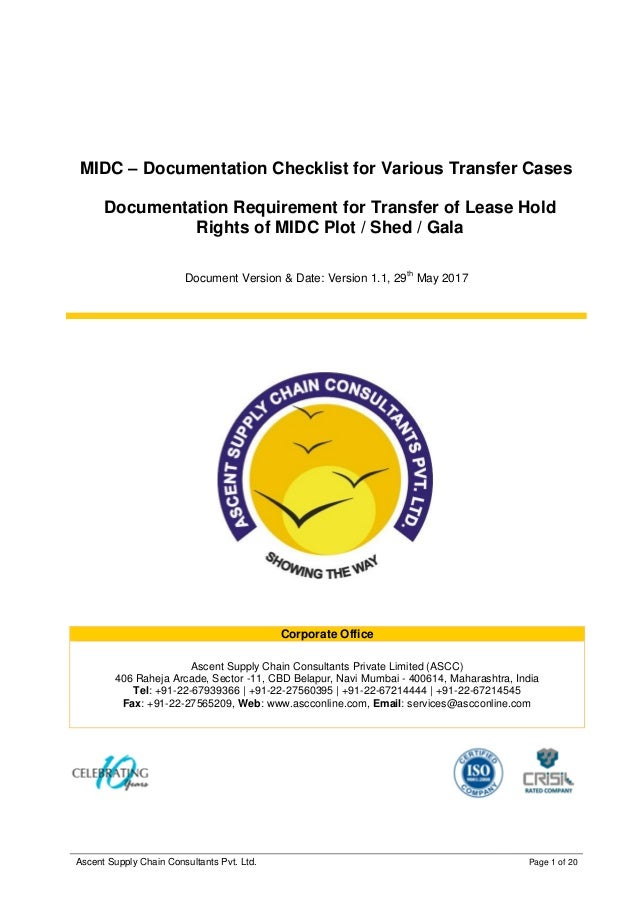 MIDC Transfer Documents Checklist