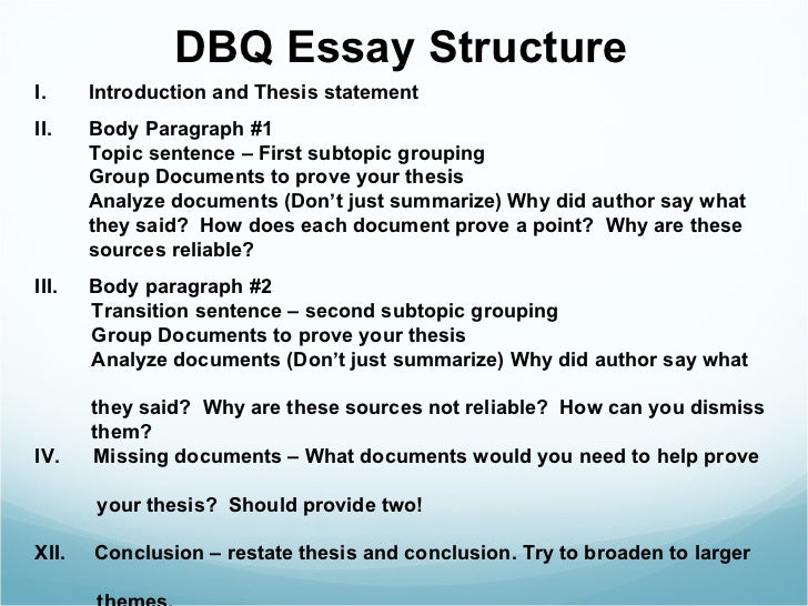 how to write a dbq thesis apush