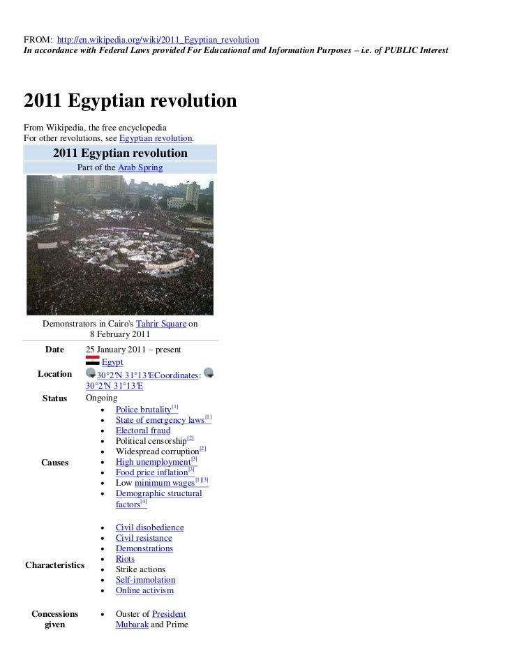 FROM: http://en.wikipedia.org/wiki/2011_Egyptian_revolutionIn accordance with Federal Laws provided For Educational and In...