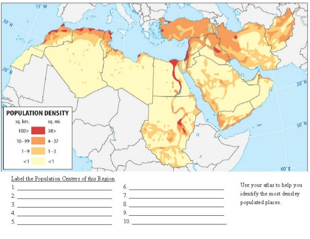 North Africa Population Density Map.Middle East And North Africa