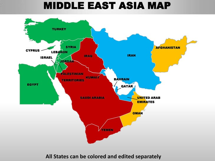 Middle East Asia Editable Continent Map With Countries - Name of continents