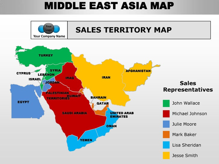Middle east asia editable continent map with countries
