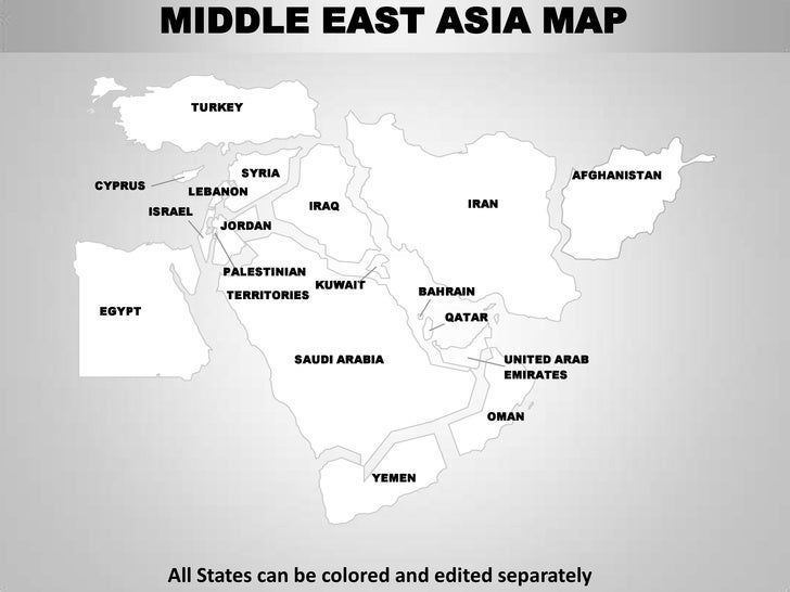 Middle east asia editable continent map with countries middle east asia map sciox Images