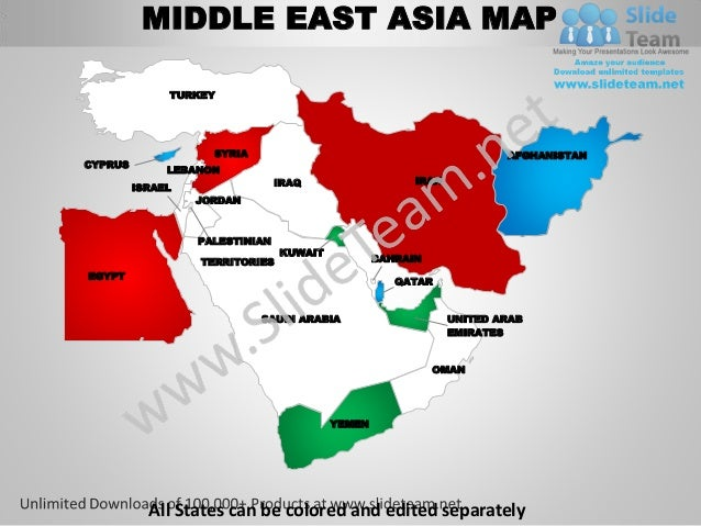 Middle east asia powerpoint editable continent map