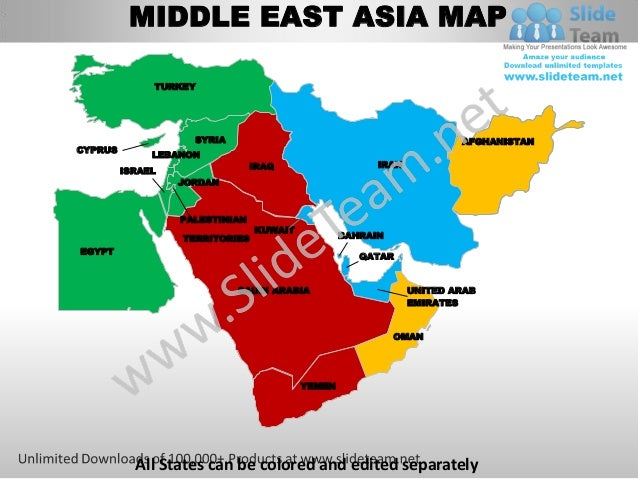 Middle east asia powerpoint editable continent map with