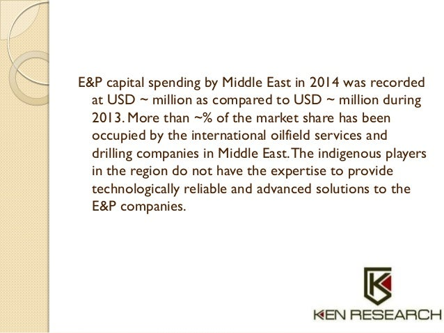 E&P capital spending by Middle East in 2014 was recorded at USD ~ million as compared to USD ~ million during 2013. More t...