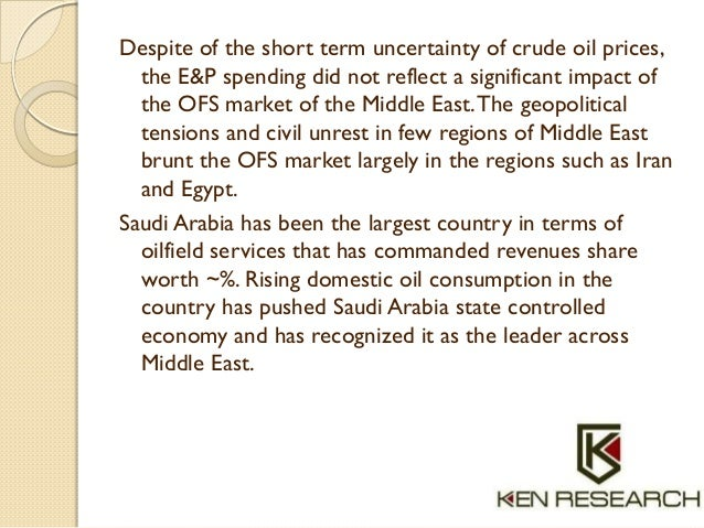 Despite of the short term uncertainty of crude oil prices, the E&P spending did not reflect a significant impact of the OF...