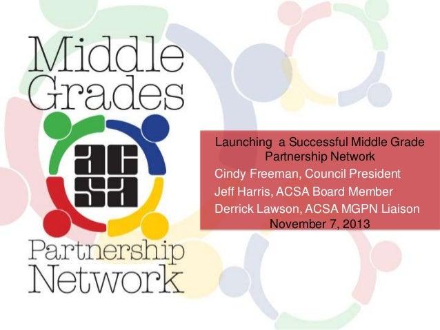 Launching a Successful Middle Grade Partnership Network Cindy Freeman, Council President Jeff Harris, ACSA Board Member De...