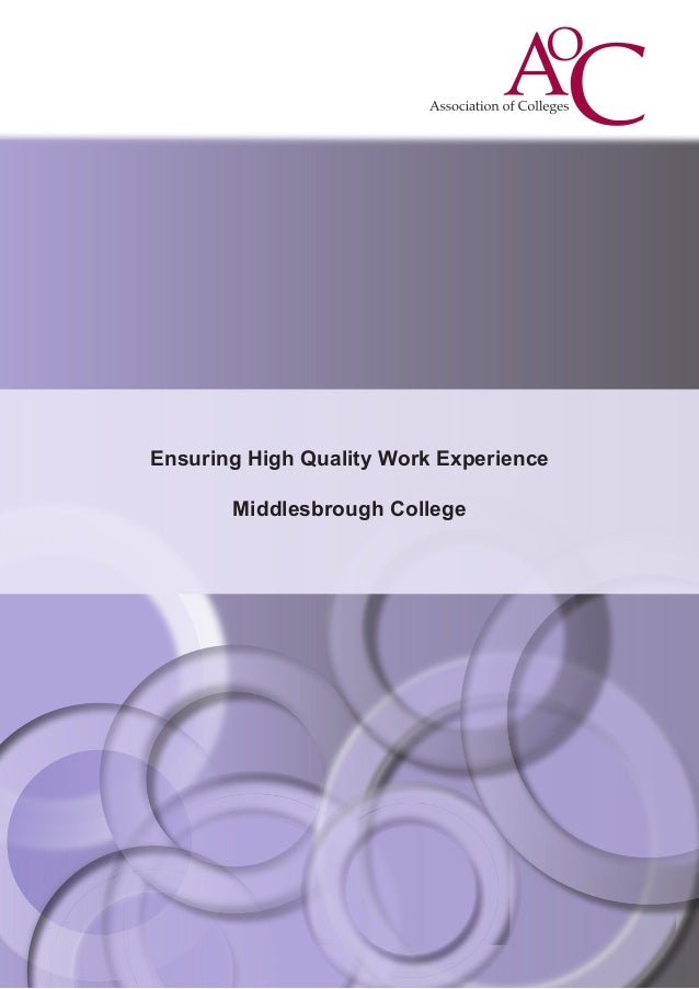 Ensuring High Quality Work Experience Middlesbrough College