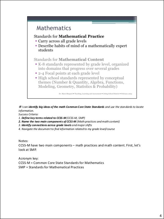 Navigating the Math Common Core State Standards - \