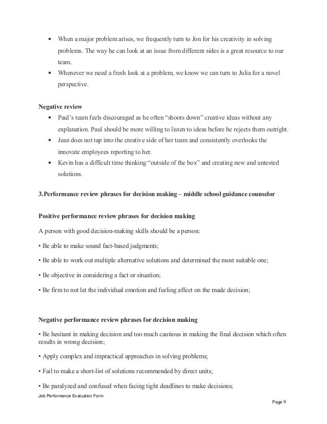 Middle School Guidance Counselor Performance Appraisal